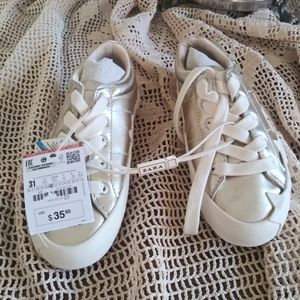 Zara gold faux leather with stars sneakers